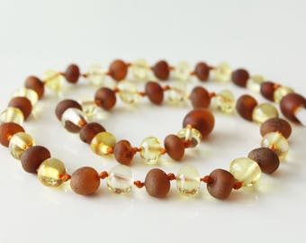 Authentic raw/polished baltic amber baby teething necklace.  31-32 cm/12.2-12.6 in