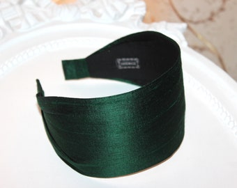 Pure Silk Hair Scarf Green Silk Headband Women silk hairband wide headband turban Statement Head Cover headbands for women fashion headpiece