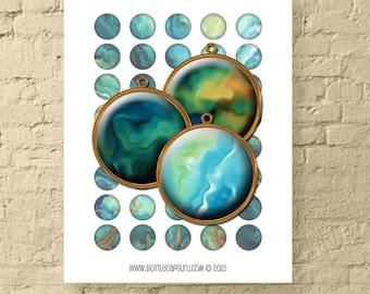SILKY OIL PAINT Circles / Digital Collage Sheet 1 Inch Size Abstract / Printable Bottle Cap Images for Pendants, Bezel Trays // Pdf Download