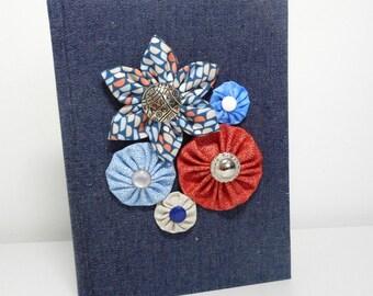 Denim Journal, Flowers and Denim Book, Denim Sketchbook