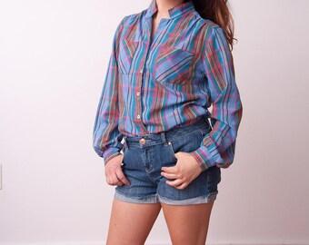 Vintage Plaid Shirt - Unisex Patterned Button Down - Vtg Multi Color Button Up Top - Preppy Fashion - 80s Mens Shirt - Size Medium Large