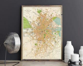 City Plan of Dublin| Dublin Old Map| Vintage Dublin Street Map| Ireland Map| Antique Map of Ireland| irish Cartography| Wall Art Map| AMC130