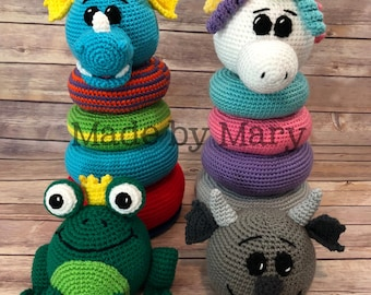 PDF PATTERN: Ring Stacker Fantasy Animals **Crochet Pattern Only, Not Actual Doll!** Crochet Toy