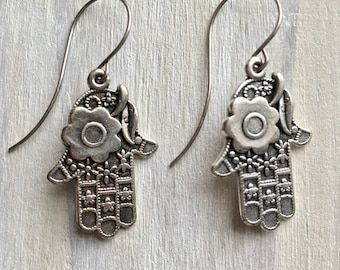 Hamsa Hands, Protection, Happiness, Luck, Amulet, Silver, Earrings