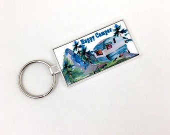 Happy Camper Key Ring, Vintage Camper, Mountain Woodland Scene, Watercolor Painting