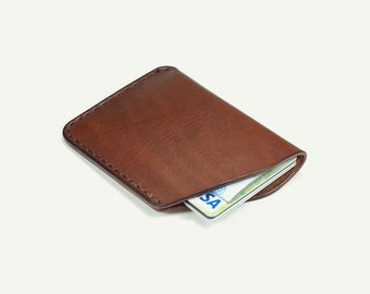 Leather Card Holder - BROWN oily leather Italian vegetable tanned leather