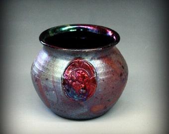 Raku Pot with Bison in Metallic and Iridescent Colors