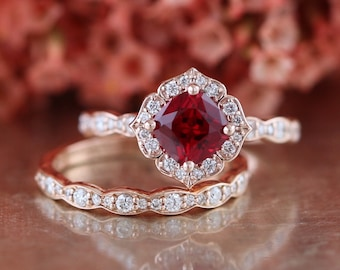 Ruby engagement ring etsy bridal set vintage floral ruby engagement ring and scalloped diamond wedding band in 14k rose gold 6x6mm cultured red ruby july birthstone junglespirit Image collections