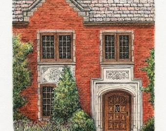"""Pen and Ink Pastel Architectural Art, Neo Gothic Original Door Art, Home Decor 7.5""""x9.5"""" sfa, colorful red brick building, house sketch"""
