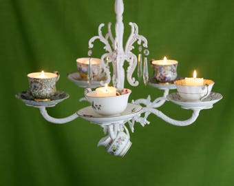 Vintage China Tea Cups & Saucers Wrought Iron Candle Chandelier
