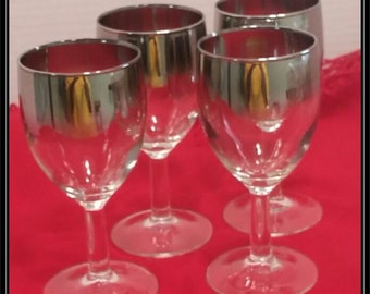 Set of 4 Mid Century Modern Mad Men Dorothy Thorpe Style Silver Fade  4 oz  Wine Glasses