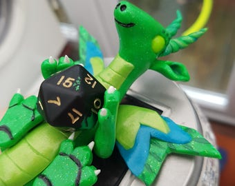 Green D20 dice dragon