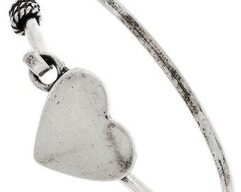 Heart Bangle Bracelet - Antique Silver Heart Cuff - Minimalist Heart Bracelet - Love - Valentines Day - Heart Jewelry - Boho - Teen