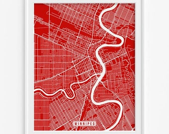 Winnipeg Print, Canada Poster, Winnipeg Poster, Winnipeg Map, Canada Print, Street Map, Canada Map, Manitoba, Mothers Day Gift