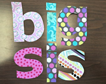 Big Sister Applique - Birth Announcement, New Baby, Shower, Tee, Pink Purple Teal big sis diy iron on