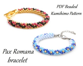 PDF Beaded Kumihimo Pattern - Pax Romana Kumihimo bracelet tutorial – bead layout instruction