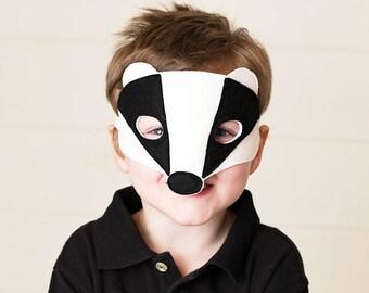 Badger Mask - Woodland Mask - Animal Mask - Badger Costume - Woodland Animal Party - Animal Costume - Animal Disguise - Felt Mask