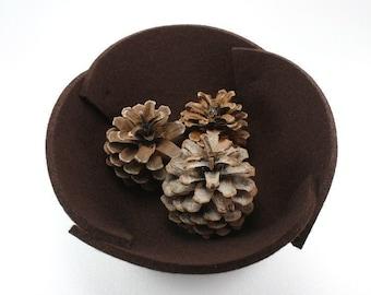 Small Felt Bowl in 5MM Thick Merino Wool Felt, Brown