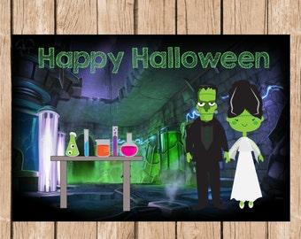 Happy Halloween Frankenstein's Lab Vinyl Banner