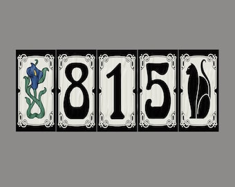 cat house numbers etsy