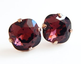 Marsala crystal earrings - square stone earrings - burgundy  earrings - Swarovski crystal - wine red