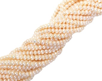 6mm; Round, Fresh Water Pearl - 1 Strand