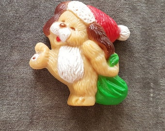 Christmas Santa Brown Puppy Dog Magnet Refrigerator Happy Holiday Xmas Russ Berrie & Co Inc Solid Plastic FS