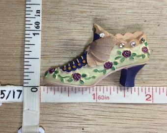 Vintage Resin High Heel Shoe Pink Purple Pin Brooch Roses Rhinestones Used