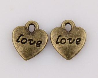 Antique Brass, Love Heart Charms, Double Sided 11x10mm