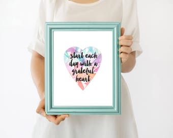 Grateful Heart Printable Art Print Religious Print Bible Print Christian Art God is Within Her She will not Fall