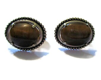 Vintage Silver Tone Tiger Eye Cuff Links