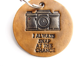 Personalized Keychain Leather Camera Photographer