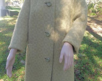 Vintage 60's. swing Coat Tan and Black Woven Wool Coat with Fur Collar