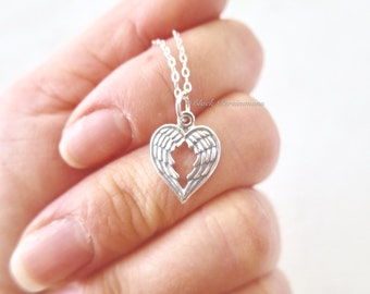 Heart Shape Double Angel Wings Necklace - Openwork Solid 925 Sterling Silver Pendant - Insurance Included