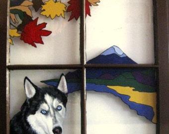 Siberian Husky, Painted Window, Custom Pet Portrait, Dog Loss Memorial, Autumn Leaves, Animal Art, Personalized Pet, Home Decor, Pet Decor