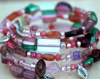 Pink Bead Memory Wire Bracelet