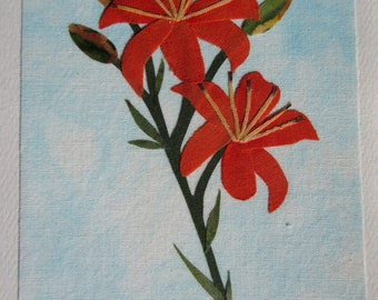 Fabric Orange Lilly Note Cards