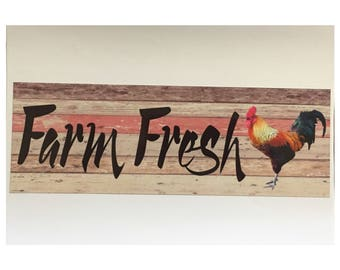 Farm Fresh Rooster Chicken Sign Coop Country House Plaque or Hanging