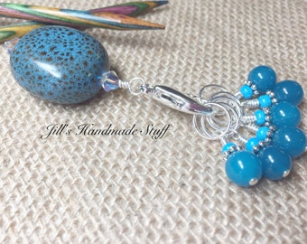 Blue Stitch Marker Holder and Snag Free Stitch Markers- Stitch Marker Keeper- Knitting Gift