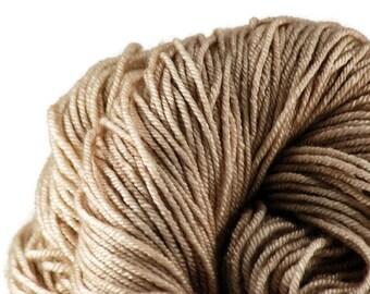 Tan Hand-dyed Silk Sock Shawl DK Weight Yarn, hand dyed BFL silk, shawl yarn, sock yarn - Faun