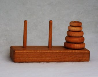 Tower of Hanoi Traditional Problem Solving Game Wooden Toy Montessori Theory