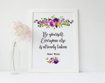 PRINTABLE wall art,Be yourself everyone else is already taken,Oscar Wilde Quote,Motivational quote, children wall art, nursery decor, purple