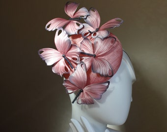 Pale pink butterfly hat, races hat, Ascot hat, garden party hat, cocktail hat, pink butterfly fascinator, butterfly wedding  hairpiece
