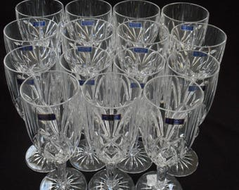 Waterford Crystal Glasses Marquis Brookside Set Lot 16 Goblet Wine Water