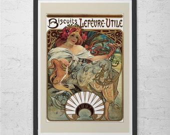 ANTIQUE MUCHA POSTER Print - Belle Epoque Poster Art Nouveau Poster French Fine Art Print Brasserie Style Art Nouveau Print