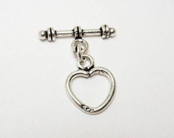 Sterling Silver Bali Heart Toggle, 925 Sterling Silver Antiqued Heart Toggle Clasp