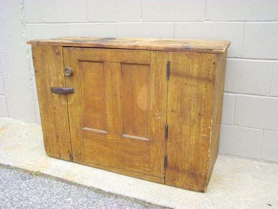 - Antique Jelly Cupboard Rustic Country Cabinet Solid Wood