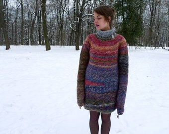 Handmade oversized colourful Alpaca wool tunica / long wool sweater with a collar