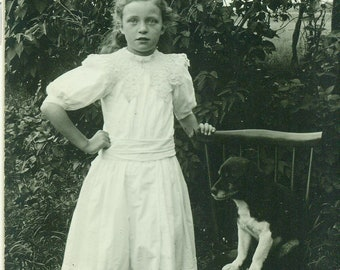 Girl and Her Puppy Dog Sitting on a Chair Antique RPPC Real Photo Postcard Photograph Black White Photo