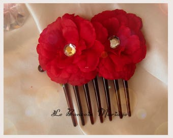 red flower and diamond hair comb